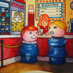 """Two Popcorns, Two Sodas"" 5"" x 5"" - watercolor on paper  This was a commissioned piece and part of a series of three Fisher Price paintings for a home theatre.  There is no ""real"" FP concession stand, so I drew up my own ""decal,"" photographed my little people in front of it and painted from the photo so as to get that authentic, 3-dimensional appearance.  This one was a lot of fun to do.  http://www.dailypaintworks.com/Artists/kara-k-bigda-394"