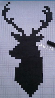 "This is art, but you can also use this as a Christmas card and then put ""Merry Christmas"" over the Reindeer. Graph Paper Drawings, Graph Paper Art, Easy Drawings, Pixel Art Minecraft, Pixel Drawing, Drawing Drawing, Drawing Lessons, Pix Art, Bead Art"