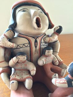 Vintage Cochiti Pueblo Pottery Storyteller With 5 by AlsBazaar
