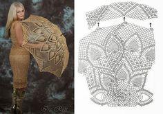 Crochet beige umbrella ♥LCU-MRS️♥ with diagram.