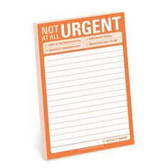 """""""NOT AT ALL URGENT"""" BIG STICKY NOTES - Small Knock Knock sticky notes are great for brief missives, but sometimes you've got a little (or a lot) more to say. Enter the newest addition to our sticky family. They're kind of a great big deal. Let 'em know it's not that important Funny notepads for the office, boardroom, or briefcase 4 x 6 inches, 60 sheets www.cubiclelife.com"""