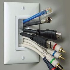 The Chic Technique: Brush wall plate. Use this to hide cable behind wall after mounting TV. Hidden Tv, Wall Mounted Tv, Mounted Tv Decor, Home Theater, Theatre, Plates On Wall, Home Organization, Home And Living, Home Projects