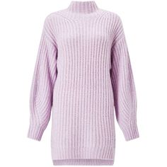Miss Selfridge Lilac Funnel Neck Knitted Tunic Jumper (140 PEN) ❤ liked on Polyvore featuring tops, lilac, miss selfridge tops, funnel neck top, sleeve top, pink top and lilac top