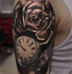 Pocket Watch & Roses http://tattooideas247.com/pocket-watch-roses-2/