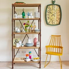 Industrial Shelving made pretty with beautiful homeware and delicate accessories