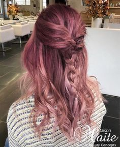 Pink ombre hair with a bohemian updo & braid by Maison Maite, hair color & hair extensions specialist : www.maisonmaite.com Pink Ombre Hair, Braided Updo, Updos, Hair Extensions, Braids, Hair Color, Bohemian, Long Hair Styles, Beauty
