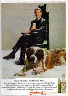 Johnny Carson offers a Smirnoff over ice with a blast of Fresca. Fans of Carson will enjoy his easy smile and the St. Bernard by his side! Johnny Carson, Here's Johnny, St Bernard Dogs, Tv Ads, Smirnoff, Vintage Ads, Vintage Advertisements, Advertising Ads, Vintage Posters