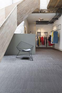 2tec2 woven vinyl flooring collection: Lustre -'Morion Brown' -- Designed & Made In Belgium -- Haute couture boutique 'Lebrahc', Belgium