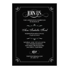 Formal Elegance Graduation Invitation - Black