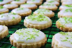 Coconut Lime Shortbread Cookies.  These are so good!! Amazing shortbread with amazing lime frosting on top!