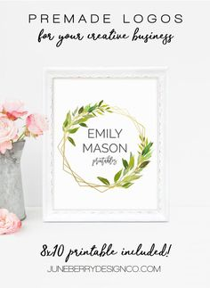 Gold Geometric Frame With Watercolour Leaves Premade Logo Watercolor Leaves, Watercolour, Leaf Logo, Shop Icon, Gold Logo, Shop Logo, Text Color, Creative Business, Color Change