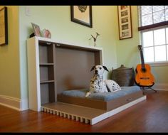 Pull down dog bed. Great idea