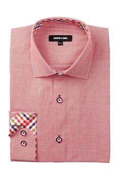 Long Sleeve Weave Pattern Dress Shirt
