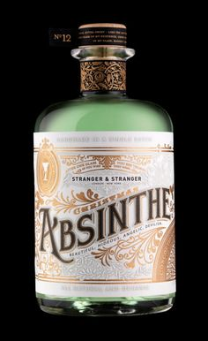 Stranger & Stranger Christmas Absinthe January 2011 i 'Every year Stranger & Stranger sends out a stunning, limited edition custom designed bottle of liquor. This year, Absinthe made the cut, and the results are stunning. Vintage Packaging, Brand Packaging, Packaging Design, Bottle Packaging, Pretty Packaging, Food Packaging, Label Design, Graphic Design, Graphic Art