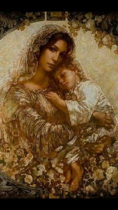 Mother Mary and toddler Jesus - Absolutely Beautiful! Blessed Mother Mary, Blessed Virgin Mary, Jesus Mother, Queen Mother, Baby Jesus, Catholic Art, Religious Art, Religious Icons, Queen Of Heaven