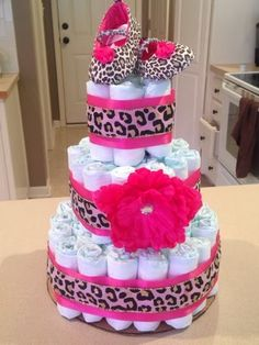 Wishes do come true...: How to make a Diaper Cake leopard print pink girl baby diy