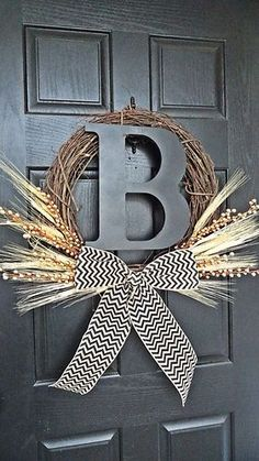 wheat, chevron burlap, initial, and berries