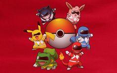 Pokemon Go Power Rangers Mashup parody pokeball tee t-shirt unisex ladies mens