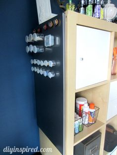 Craft room magnetic board storage