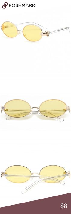 bf8f0b2e08 Yellow Oval Sunglasses Metal Hand Faux Pearl Nose Pad Oval Sunglasses never  worn Zaful Accessories Glasses
