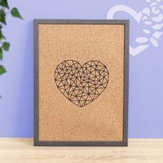 Pinboard, Memoboard, Cork Noticeboard, Bulletin Board Memo Boards, Geometric Heart, Bulletin Board, Cork, Social Media, Etsy, Design, Valentines Day, Handmade