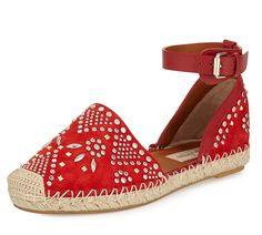 Valentino SS 2015 stud-embroidered suede espadrille in red.