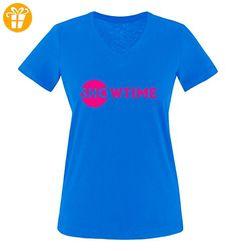 Comedy Shirts - SHOWTIME - BILLIONS - Damen V-Neck T-Shirt - Royalblau / Pink Gr. M - Shirts mit spruch (*Partner-Link)
