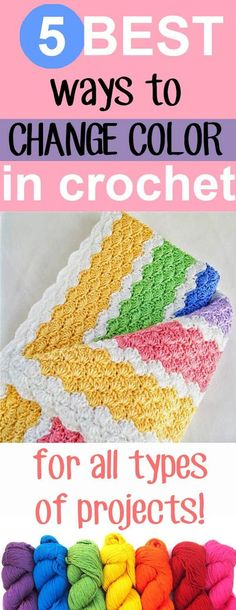 the best 5 ways to change color in crochet, for all types of projects! I hope this roundup helps you change color easily and seamlessly in all sorts of projects, these tips and tricks are so easy!