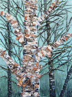 A birch. Mixed media art.
