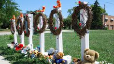 A makeshift memorial outside the Sikh Temple of Wisconsin in honor of the six people who were killed there. Wisconsin, Temple, Christmas Ornaments, Holiday Decor, Community, Temples, Christmas Jewelry, Christmas Decorations, Christmas Decor