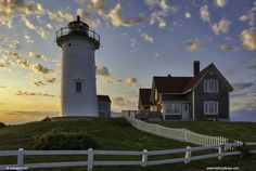 Cape Cod Photography of Nobska Light near Woods Hole Village at Sunset