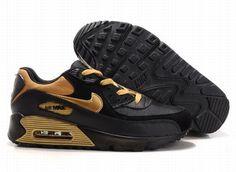 https://www.kengriffeyshoes.com/nike-air-max-90-black-gold-p-716.html Only$72.89 #NIKE AIR MAX 90 BLACK GOLD #Free #Shipping!