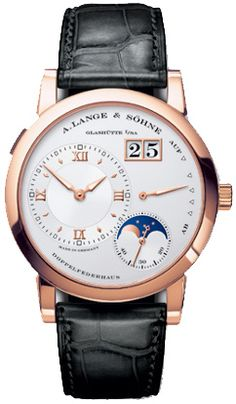 A Lange and Sohne Moonphase Silver Dial Black Leather Strap Mens Watch 109032