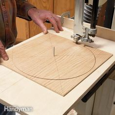 cut perfect circles with a band saw, using a simple jig. you can assemble the jig in about a half hour from ¾-in. plywood.