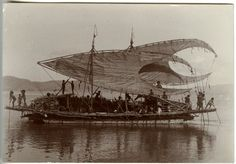 View of a lakatoi (outrigger canoe) with its sails lowered, Papua New Guinea. 1903-1904