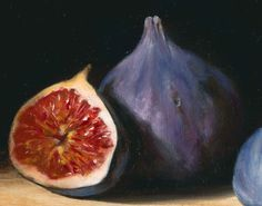 Figs I, 2014 Tanja Moderscheim Watercolor Fruit, Fruit Painting, Watercolor Flowers, Still Life Oil Painting, Love Painting, Vegetable Pictures, Still Life Fruit, Still Life Photos, Paint And Sip