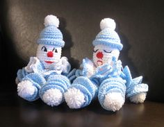 Two special clownies for two special little boys! http://www.craftsy.com/pattern/crocheting/toy/clownie-the-crocheted-clown-doll/10169