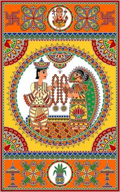 Wedding Card for Bihari Bride & Assamese Groom (two states following different cultures in India) in Madhubani / Mithila Painting style.   The painting highlights the various element of weddings in both the culture i.e Lord Ganesh, Shankh, Fish, Swastik, Xorai, Lotus, Jaimala etc.  Mode of Creation: Digital Painting, Artist : Nupur Nishith