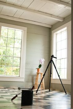 Pleasant View Schoolhouse: Benjamin Moore Gray Horse Lovely gray green color