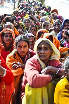 Lining up for food at Maha Kumbh Mela, Varanasi, India