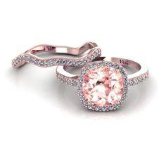 14k Rose Gold Cushion Morganite Ring