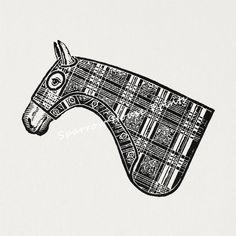 Antique Art Horse Head Wall Art Animal Print by SparrowHousePrints