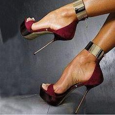 Ladies' Love Metal Ankle Wrap Stiletto Dress Sandals
