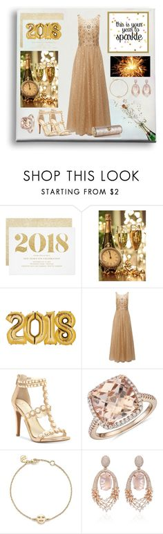 """""""Welcome 2018"""" by barebear1965 ❤ liked on Polyvore featuring Notte by Marchesa, Jessica Simpson, Blue Nile, Bing Bang and Hueb"""
