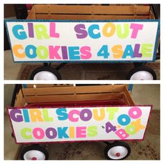Are you walking around your neighborhood selling cookies? Here is a perfect wagon for your Girl Scout cookie adventure.