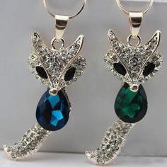 Fox Pendant Long Necklace Green or Blue you pick