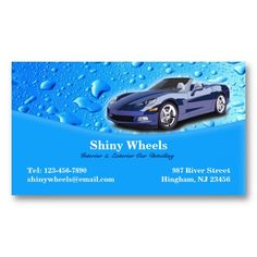 auto detailing water drops business card - Car Wash Business Cards