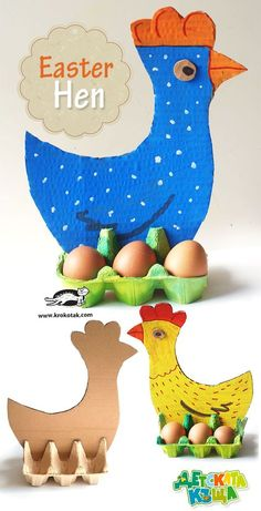 Easter Hen – Egg Carton and Cardboard // Gallina de pascua con cartón de huevos y cartones #easter #hen