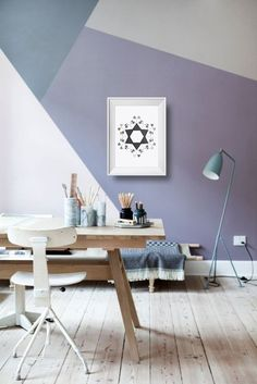 a new kind of accent wall - geometric wall paint Home Office Inspiration, Interior Inspiration, Office Ideas, Design Inspiration, Office Decor, Interior Ideas, Geometric Wall Paint, Geometric Painting, Abstract Lines