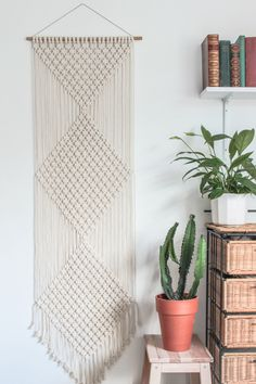 Macrame Wall Hanging > DIAMONDS > Ecru Recycled Cotton Cord with Bamboo by ButtermilkDesignCo on Etsy https://www.etsy.com/listing/209695819/macrame-wall-hanging-diamonds-ecru